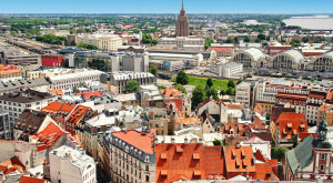 aerial view of Riga old town and city